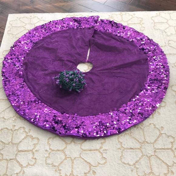 purple christmas tree skirt lights